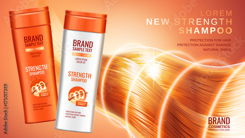 Fotografie, Obraz  Shampoo premium ads, realistic cosmetic bottles of shampoo with different packag