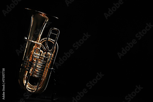 Door stickers Music Tuba brass instrument. Wind music instrument. Orchestra bass