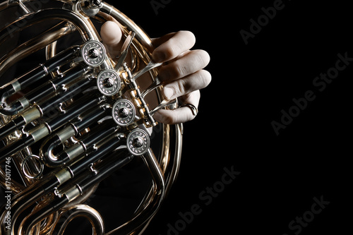 Door stickers Music French horn instrument. Hands playing horn player