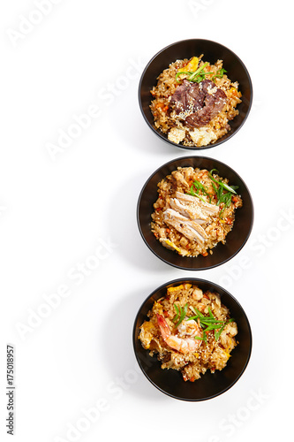 Photo Stands Asia Country Special dishes of Pan-Asian cuisine in dark iron plate