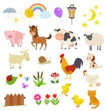 Cartoon Set Of Farm Animals Is...