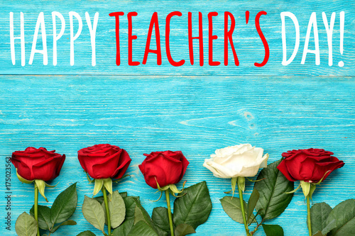 Happy teachers day greeting card with red and white roses buy happy teachers day greeting card with red and white roses m4hsunfo