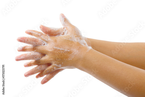 Valokuva Hand washing medical procedure step isolated