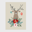 Traditional Christmas, New Year greeting card, invitation. Hand drawn illustration of reindeer with Christmas balls. Floral bouquet made of holly, poinsettia, fir tree branches. Vector background.