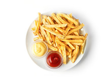 French Fries On White Plate Wi...