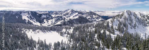 Fotografie, Obraz  Helicopter Over Winter Mountian Sports Destination in Pacific Northwest Forest