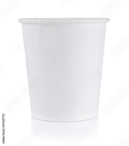 Paper cup on white
