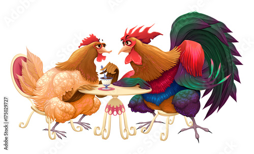 Poster Chambre d enfant Hen and rooster in a cafe