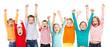 Leinwandbild Motiv Happiness group children with their hands up