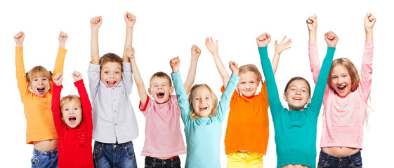 Fototapeta Happiness group children with their hands up