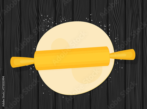 Dough with rolling pin flat vector Poster