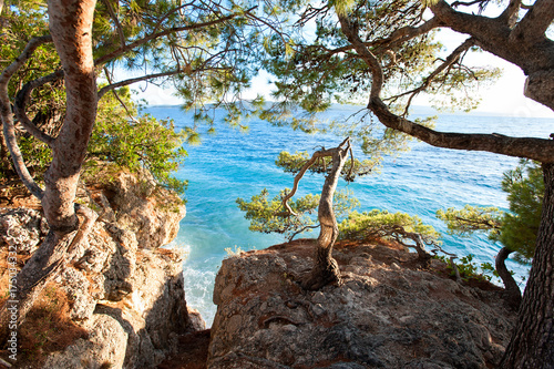 Fototapety, obrazy: Spectacular view of Adriatic Sea from stone cliff in Dalmatia