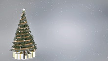 Christmas Tree On Silver Background With Copy Space. 3D Rendering