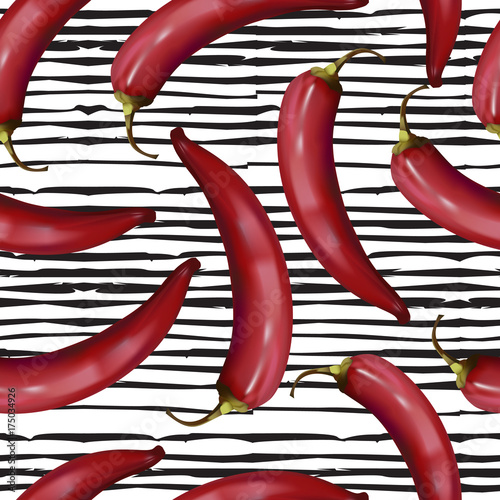 realistic-red-hot-chili-peppers-seamless-pattern-on-doodle-line-background-spices-endless