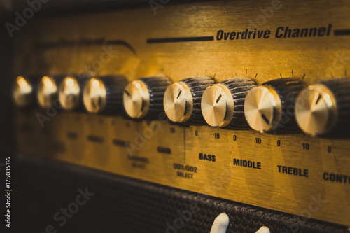 Selective focus guitar amplifier. Vintage filter. Canvas Print