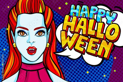 Zdjęcie XXL Dziewczyna wampirów i Happy Halloween wiadomości