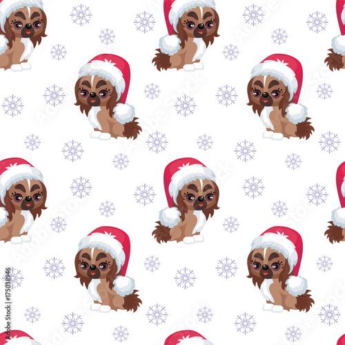 bozenarodzeniowy-wzor-z-psem-w-czapce-mikolaja-wsrod-platkow-sniegu
