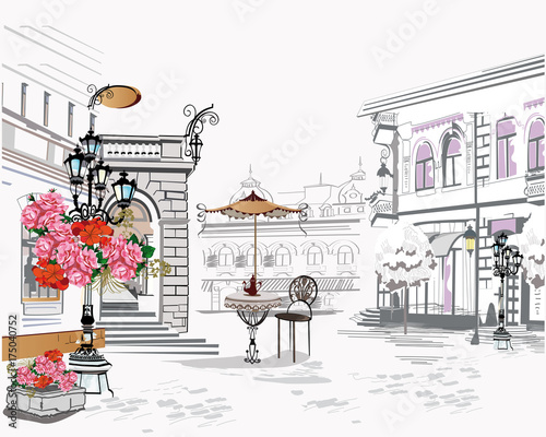 Foto auf AluDibond Gezeichnet Straßenkaffee Series of backgrounds decorated with flowers, old town views and street cafes. Hand drawn Vector Illustration.