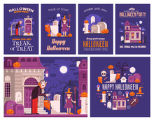 Halloween Concept Cards And Il...