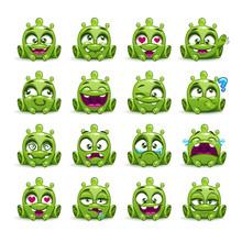 Little Cute Funny Green Alien Set.
