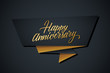 Happy Anniversary greeting template with gold colored hand lettering. Vector illustration.