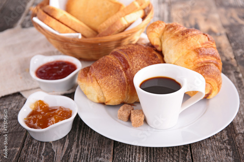 Fototapeta breakfast with coffee cup and croissant obraz