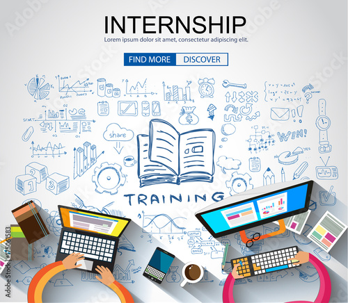 Internship concept with Business Doodle design style: online formation, webinars, elearning tips. #175061583