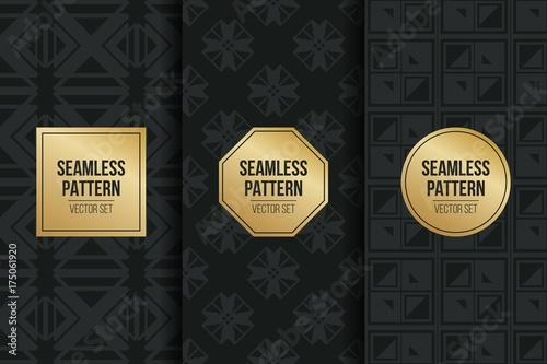 Fototapety, obrazy: Abstract concept vector monochrome geometric pattern. Dark blue, gold minimal background. Creative illustration template. Seamless stylish texture. For wallpaper, surface, web design, textile, decor.