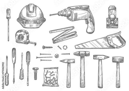 Vector sketch icons of repair work tools Fototapete