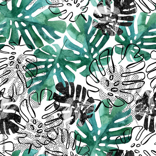 Printed kitchen splashbacks Watercolor Nature Monstera leaves seamless pattern.