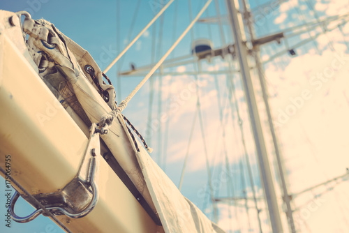 Fototapety, obrazy: Vintage beautiful sail boat details. Rope, hull, rigging sailing yacht background