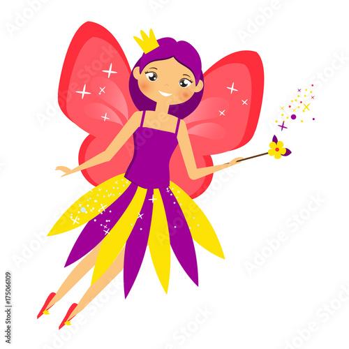 Fototapeta Piękny latający bajki machanie magicznym kijem. Elf księżniczka z różdżką. Styl kreskówki
