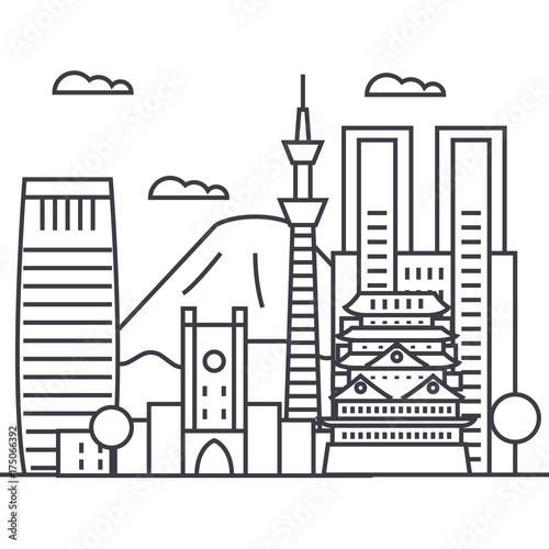 Fototapety, obrazy: tokyo vector line icon, sign, illustration on white background, editable strokes