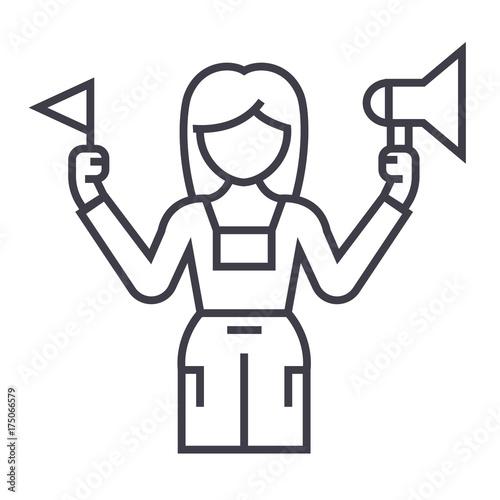 Fotografia tour guide vector line icon, sign, illustration on white background, editable st