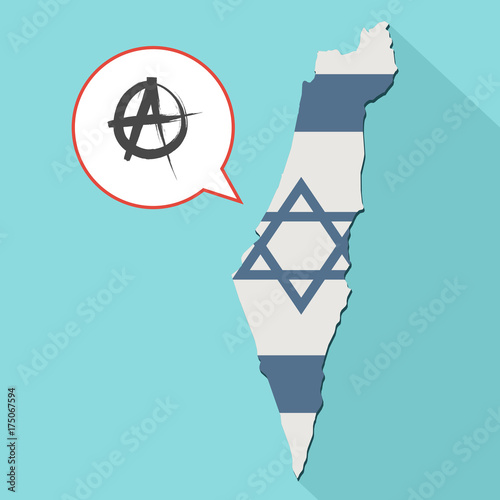 Photo Animation of a long shadow Israel map with its flag and a comic balloon with an
