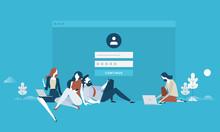 Login. Flat Design Business People Concept For Login Form, Internet Security, User Account, Register Page. Vector Illustration Concept For Web Banner, Business Presentation, Advertising Material.