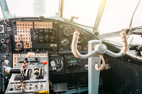 The cockpit of the pilot of the old turboprop aircraft of