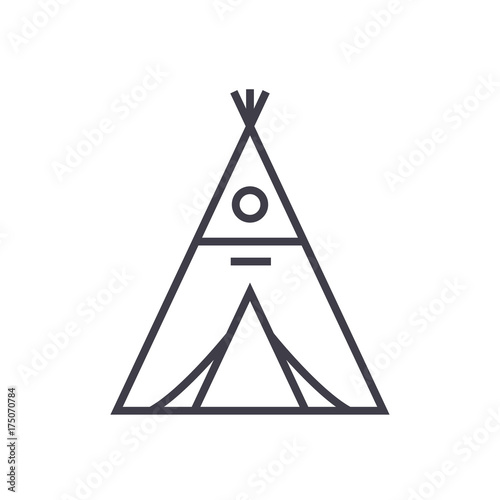 wigwam vector line icon, sign, illustration on white background, editable stroke Fotobehang