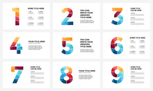 Vector Alphabet Infographic, Presentation Slide Template. Business Concept With Numbers 1, 2, 3, 4, 5, 6, 7, 8, 9 And Place For Your Text. 16x9 Aspect Ratio. 9 Infographics In 1 Set.