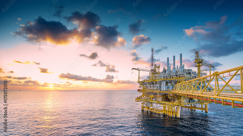 Fototapety, obrazy: Panorama of Oil and Gas central processing platform in sunset, offshore production and exploration business in the gulf of Thailand.