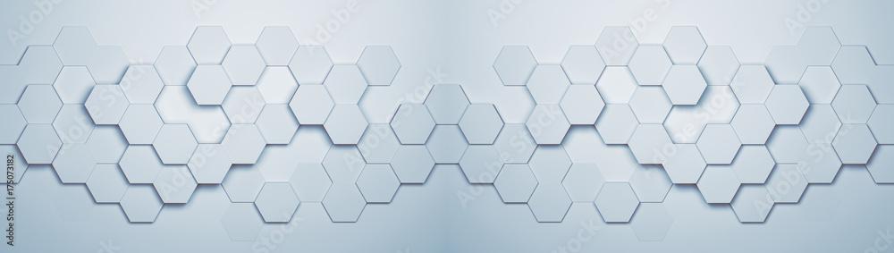 Panorama Hintergrund mit Hexagon Waben Muster