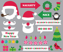 Christmas Party Photo Booth Props (Santa Hats And Beards, Naughty And Nice Signs, Decoration)