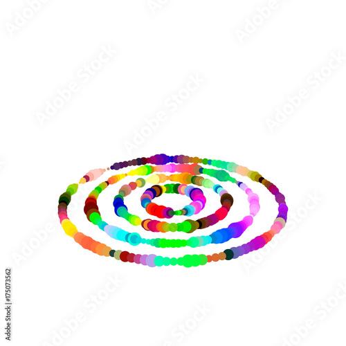 Plakat Pierścienie z kropek. Pojedynczo na białym tle. Efekt luminancji.