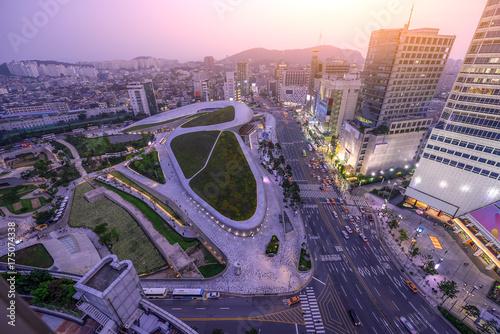 Fototapeta Seul skyline i mglisty w Korei Południowej
