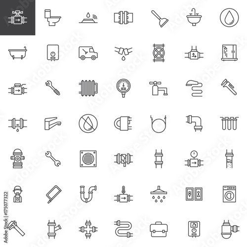 Plumbing Line Icons Set Outline Vector Symbol Collection Linear