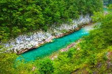 The River Flows Diagonally. Tara River Canyon. Durmitor National Park. Montenegro.