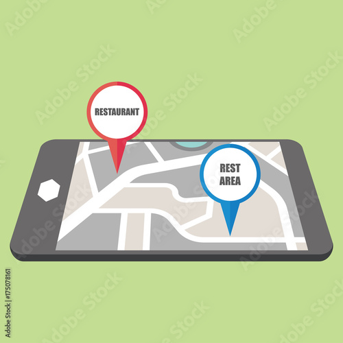 road map direction in mobile phone with colorful pin pointer. vector Direction Road Map on