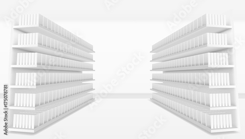 3D Supermarket Aisle With White Blank Full Shelves Canvas Print