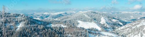 Winter Carpathian Mountains panorama.