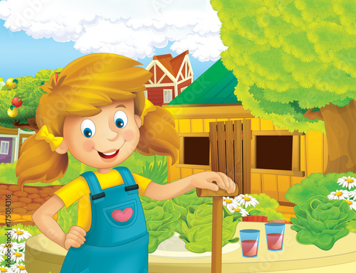Aluminium Prints Wild West cartoon scene with happy girl working on the farm - standing and smiling / illustration for children